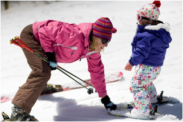 spring skiing with kids