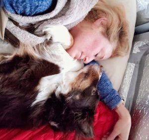 snuggling with your dog