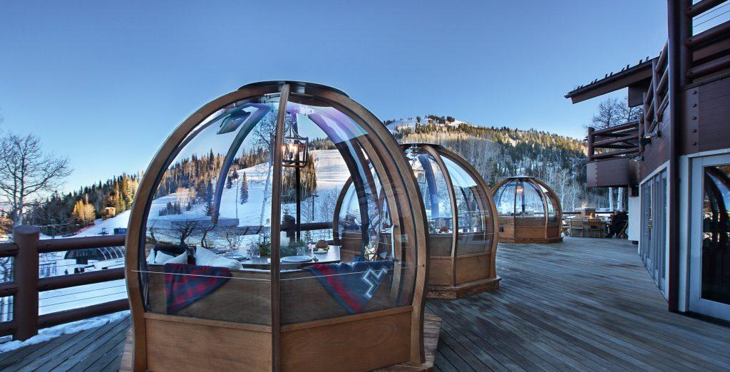 alpenglobe dome dining at Stein Eriksen Lodge Deck