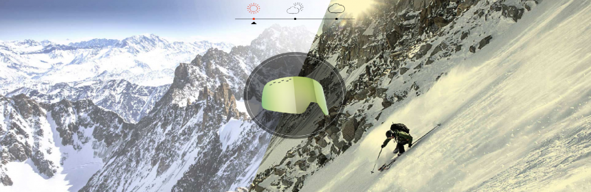 Bolle lens and skier